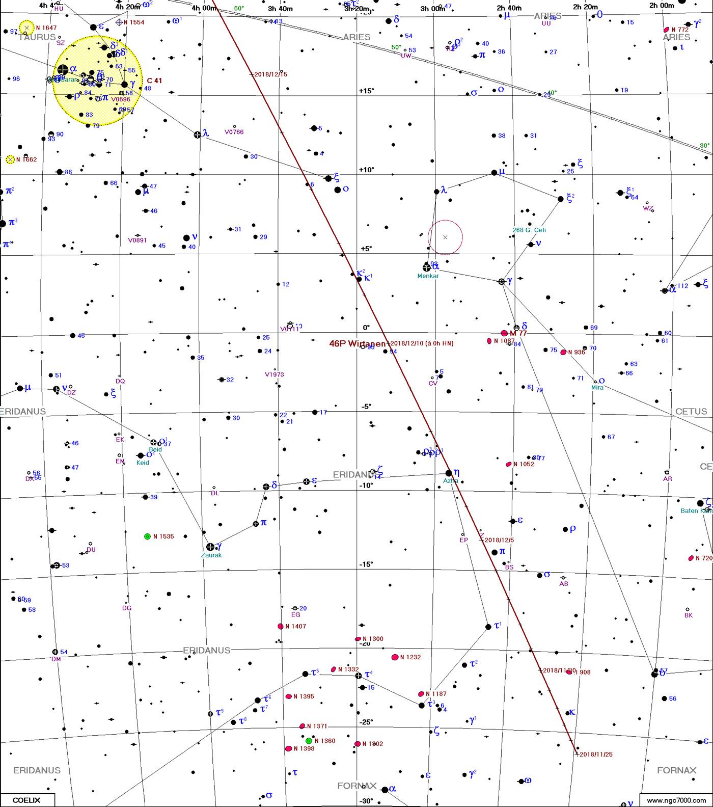 Comète 46P/Wirtanen Carte1